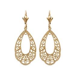 Boucles d'oreilles dormeuses plaqué or ovale ciselé filigrane obrillant-bijoux