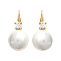 Boucles d'oreilles dormeuses plaqué or perle beige synthèse pierre zirconium obrillant-bijoux