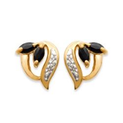 Boucles d'oreilles puces plaqué or pierres véritable saphir zirconium obrillant-bijoux