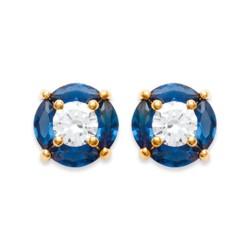 Boucles d'oreilles puces plaqué or ronde cristal bleu zirconium obrillant-bijoux