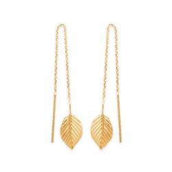 Boucles d'oreilles plaqué or chainette longues feuilles obrillant-bijoux