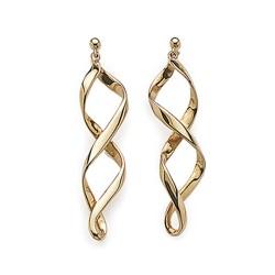 Boucles d'oreilles plaqué or longues torsadés obrillant-bijoux