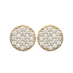 Boucles d'oreilles puces plaqué or pastille ronde pavé zirconium blanc obrillant-bijoux
