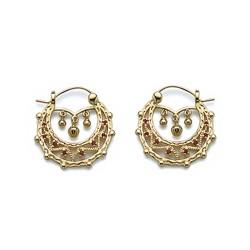 Boucles d'oreilles créoles plaqué or ciselés style bohème cristal rouge obrillant-bijoux