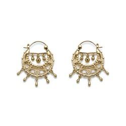 Boucles d'oreilles créoles plaqué or style bohème étoiles pierres zirconium obrillant-bijoux