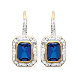 Boucles d'oreilles plaqué or style royal cristal bleu pavé zirconium  obrillant-bijoux