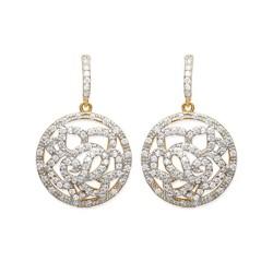 Boucles d'oreilles plaqué or anneau dentelle pavé zirconium obrillant-bijoux