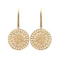 Boucles d'oreilles plaqué or anneau finement ciselé dentelle obrillant-bijoux