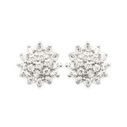 Boucles d'oreilles puces plaqué or cercle ciselé pavé en pierres micro serti zirconium obrillant-bijoux