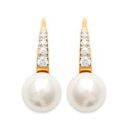 Boucles d'oreilles dormeuses plaqué or perle synthèse beige pavé zirconium obrillant-bijoux
