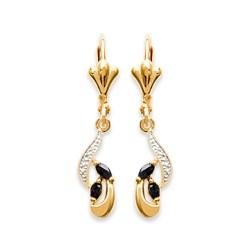 Boucles d'oreilles dormeuses plaqué or véritable pierres saphir obrillant-bijoux