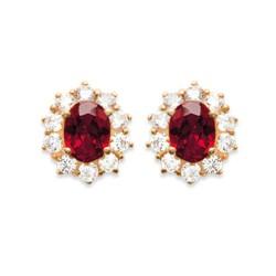 Boucles d'oreilles puces plaqué or style royal cristal rouge pavé zirconium  obrillant-bijoux