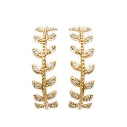 Créoles plaqué or anneaux feuilles laurier pavé zirconium obrillant-bijoux