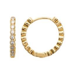 Créoles plaqué or anneaux pierres serties zirconium blanc obrillant-bijoux