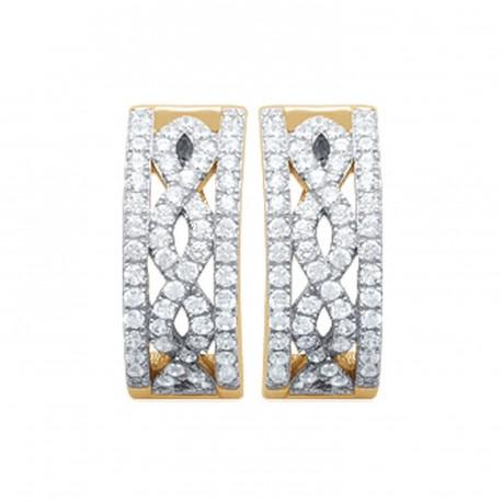 Créoles plaqué or finement ciselé micro pavage zirconium blanc obrillant-bijoux