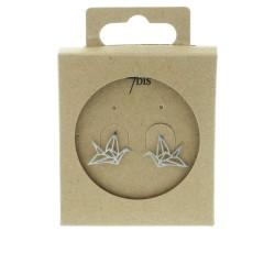 Boucles d'oreilles puces oiseau Grue Origami en métal argenté 7bis Obrillant-Bijoux