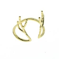 Bague réglable bois de cerf minimaliste métal doré 7bis