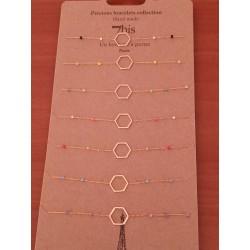 """Bracelet 7bis hexagone en métal doré et petites perles """" Une nuit à Paris """" Obrillant-BIjoux"""