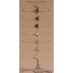 """Bracelet 7bis triangle en métal doré et petites perles """" Une nuit à Paris """" Obrillant-BIjoux"""