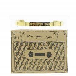 Jonc 7 bis métal en acier inoxydable doré gravé Open your eyes Obrillant-Bijoux