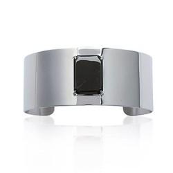 Manchette en acier inoxydable pierre en verre noir chic obrillant-bijoux