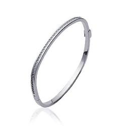 Jonc en acier inoxydable maille carré pavé de pierres en zirconium blanc obrillant-bijoux