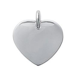 Pendentif en acier inoxydable coeur plein obrillant-bijoux