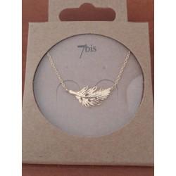 Collier 7bis petite plume en métal doré Obrillant-Bijoux