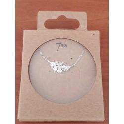 Collier 7bis plume fine ciselée en métal argenté marque 7bis Obrillant-Bijoux