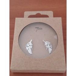 Boucles d'oreilles 7bis puces fine plume en métal argenté 7bis Obrillant-Bijoux