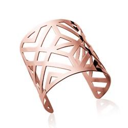 Manchette très large en acier rose inoxydable style géométrique obrillant-bijoux