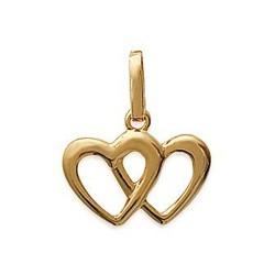 Pendentif plaqué or cœurs entrelacés mode obrillant-bijoux