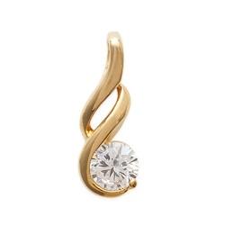 Pendentif plaqué or design pierre ronde en zirconium blanc obrillant-bijoux