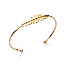 Jonc ouvert en plaqué or élégante plume obrillant-bijoux