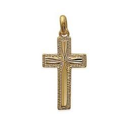 Pendentif plaqué or croix ciselé religion obrillant-bijoux