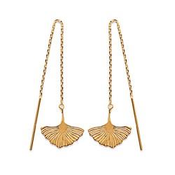 Boucles chaines d'oreilles traversantes en plaqué or fleur de Ginkgo Obrillant-Bijoux