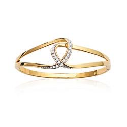 JJonc en plaqué or anneaux entrelacés pavé de zirconium blanc obrillant-bijoux