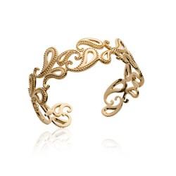 Manchette en plaqué or arabesques finement ciselées obrillant-bijoux