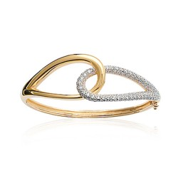 Jonc en plaqué or anneaux entrelacés pavé en pierres zirconium blanc obrillant-bijoux