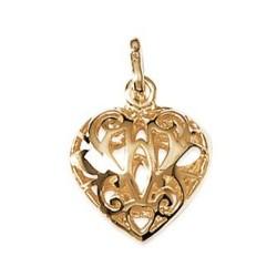 Pendentif plaqué or cœur bombé dentelle arabesques obrillant-bijoux