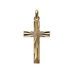Pendentif plaqué or croix ciselé catholique  obrillant-bijoux