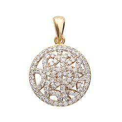 Pendentif plaqué or anneau dentelle micro serti pavé zirconium obrillant-bijoux