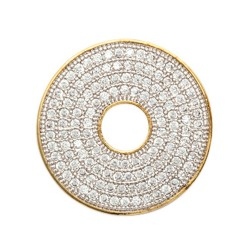 Pendentif plaqué or rondelle 20mm micro serti pavé zirconium obrillant-bijoux