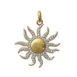 Pendentif plaqué or soleil pavé en zirconium obrillant-bijoux
