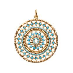 Pendentif plaqué or médaillon en dentelle pavé en turquoises  obrillant-bijoux