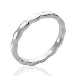 Alliance en argent massif 925 rhodié anneau fil ciselé style classique et mixte Obrillant-Bijoux