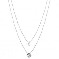 Collier mulit rangs argent 925/1000 rhodié deux rangs pastille et lune striée ligne Brillancy obrillant-bijoux
