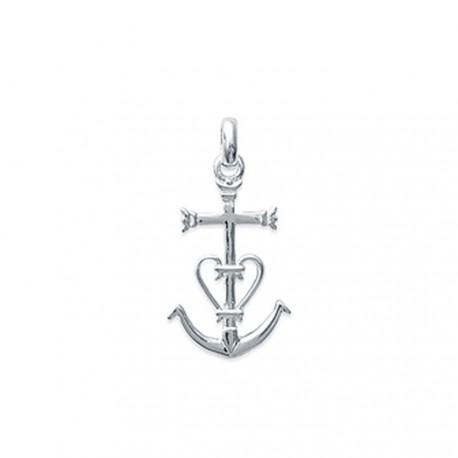Pendentif argent 925 Croix Camarguaise 22 mm ciselé obrillant-bijoux