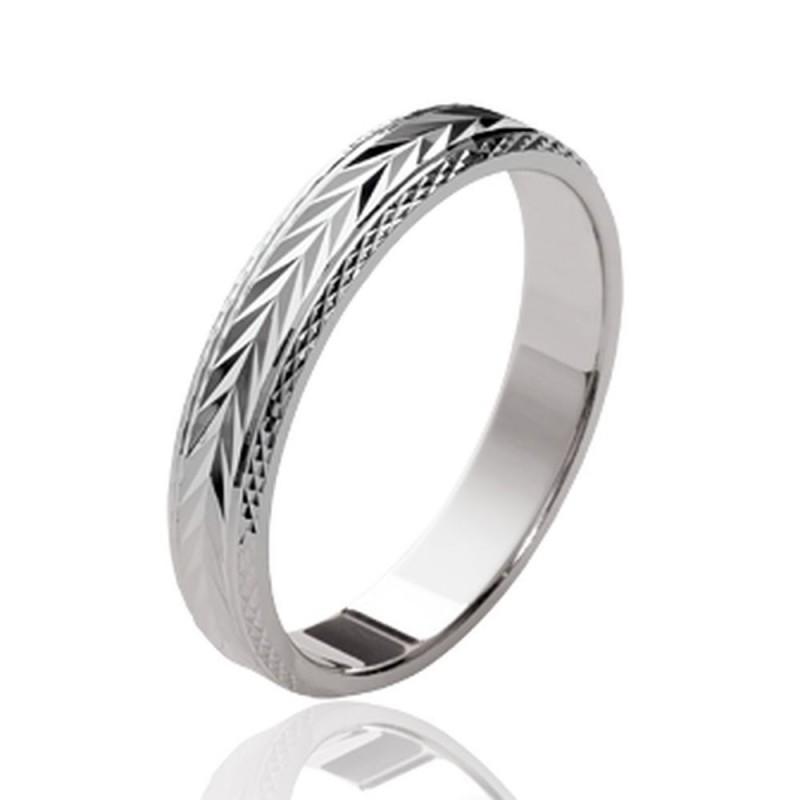 Site officiel rabais de premier ordre sélectionner pour le meilleur Alliance en argent massif 925/1000 rhodié anneau ciselé style mixte