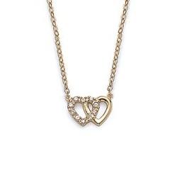 Collier en plaqué or cœurs entrelacés pavé en zirconium blanc obrillant-bijoux